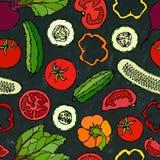 Vektor-nahtloses Gemüsemuster mit Gurken, rote Tomaten, grüner Pfeffer, rote Rübe Frischer grüner Salat Gesunde vegetarische Nahr Stockfoto