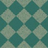 Vektor nahtloses grünes Grey Color Hand Drawn Wavy zeichnet Rauten-Kontrolleur-Retro- Muster Stockbilder