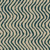 Vektor nahtloses grünes verzerrtes Grey Color Hand Drawn Wavy zeichnet Retro- Muster Lizenzfreie Stockbilder