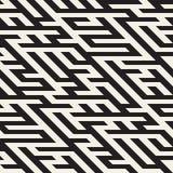 Vektor-nahtloses Maze Diagonal Line Geometric Irregular-Muster Stockfotografie