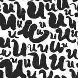 Vektor-nahtloses Muster mit Kalligraphie beschriftet U Lizenzfreie Stockfotografie