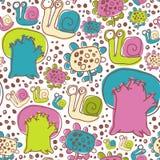 Vektor-nahtloses Muster mit Schnecken-Blumen und Bäumen Lizenzfreies Stockfoto