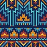 Vektor-nahtloses Muster in Stammes-: Blau u. Brown stockfotografie