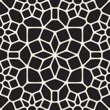 Vektor-nahtloses rundes Stern-Spitze Ornamental-Schwarzweiss-Muster Stockfotos