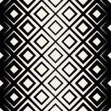 Vektor-nahtloses schwarzes u. weißes Rauten-Halbton-Schachbrettmuster vektor abbildung