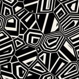 Vektor-nahtloses schwarzes u. weißes abstraktes Mosaik verzerrtes Muster Stockfoto