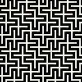 Vektor-nahtloses schwarzes u. weißes Quadrat Maze Grid Pattern Stockbild
