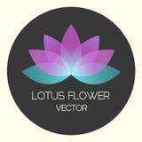 Vektor Neon-Lotus Flower Logo Illustration auf schwarzer Illustration Stockfoto