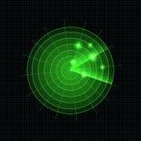 Vektor-Neonradar-Illustration, grüne helle Ikonen-Schablone, Radar beim Suchen lizenzfreie abbildung
