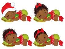 Vektor-nette Afroamerikaner-Babys, die Weihnachtskleidung tragen Stockfotos