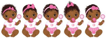 Vektor-nette Afroamerikaner-Babys mit verschiedenen Frisuren Stockbilder