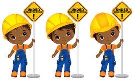 Vektor-nette kleine Afroamerikaner-Jungen, welche die Zeichen - im Bau halten lizenzfreie abbildung