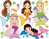 Vektor-nette kleine Meerjungfrauen mit Marine Animals Vektor-Meerjungfrauen Lizenzfreies Stockfoto