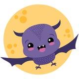Vektor-netter purpurroter Schläger und Mond-Halloween-Illustration lizenzfreie stockbilder