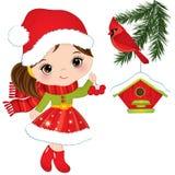 Vektor-nettes kleines Mädchen mit roten Beeren, Kardinal und Vogelhaus lizenzfreie abbildung