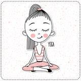 Vektor-nettes Mädchen-übendes Yoga lizenzfreie abbildung