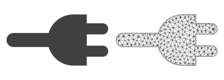 Vektor-Netz Mesh Electric Plug und flache Ikone lizenzfreie abbildung
