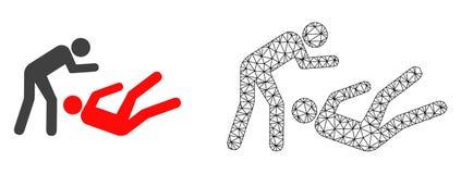 Vektor-Netz Mesh Judo Struggle und flache Ikone vektor abbildung