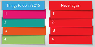 Vektor-neues Jahr-Entschließungsdoppeltes Listenschablone Stockfoto