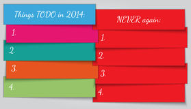 Vektor-neues Jahr-Entschließungs-Listenschablone Stockbild