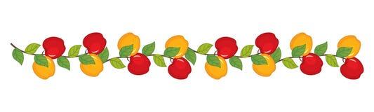 Vektor-Niederlassung mit Äpfeln Apfelvektorillustration lizenzfreie abbildung