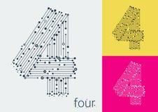 Vektor nummer fyra på en ljus och färgrik bakgrund Bilden i stilen av technoen som skapas, genom att fläta samman linjer och punk vektor illustrationer