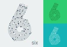 Vektor nummer sex på en ljus och färgrik bakgrund Bilden i stilen av technoen som skapas, genom att fläta samman linjer och punkt vektor illustrationer
