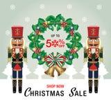 Vektor och illustration för julSale bakgrund vektor för vinterförsäljningsbakgrund Royaltyfri Fotografi