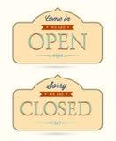 Vektor offen und geschlossene Zeichen Lizenzfreies Stockbild