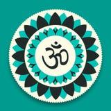 Vektor-OM-Symbol-Hindu in Lotus Flower Mandala Illustration Stockfotografie