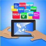 Vektor - online-shoppingbegrepp - minnestavla- och techologysymboler vektor illustrationer