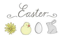 Vektor Ostern eingestellt mit Beschriftung lizenzfreie abbildung