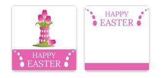 Vektor-Ostern-Partei-Einladungen und Gruß-Karten mit rosa Tulpen Blumenstrauß von gelben Tulpen Seemöwe, die auf einem Flussrand  vektor abbildung