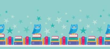Vektor Owl Bookshelf Seamless Border arkivbild