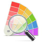 Vektor-Palette mit Lupe Stockfotos