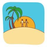 Vektor-Palmeillustration mit Leuten Lizenzfreies Stockbild