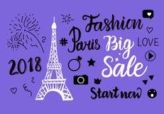 Vektor-Paris-Mode-großer Verkauf Handzeichnungssatz des Eiffelturms Vektor Abbildung