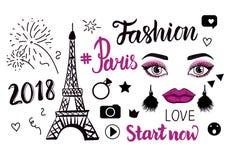 Vektor-Paris-Modesymbole Übergeben Sie das Zeichnungseiffelturm- und -aufschriftbeschriften lokalisiert auf weißem Hintergrund Lizenzfreie Abbildung