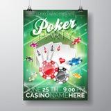 Vektor-Partei-Fliegerdesign auf einem Kasinothema mit Chips und Karten auf grünem Hintergrund Stockbilder