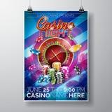 Vektor-Partei-Fliegerdesign auf einem Kasinothema mit Chips und Roulettekessel auf blauem Hintergrund Stockfotografie