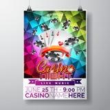 Vektor-Partei-Fliegerdesign auf einem Kasinothema mit Chips und Spielkarten auf Farbdreieckhintergrund Stockbild