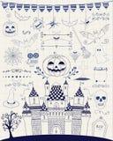 Vektor Pen Drawing Hand Sketched Doodle Halloween Lizenzfreie Stockfotografie