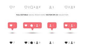 Vektor-perfekte Ikonen für Social Media-Design Elegante Social Media-Ikonen mit 3 verschiedenen Arten Wie, Anteil, Kommentar vektor abbildung