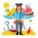 Vektor-Pirat mit saword Flache Art bunte Karikaturillustration Lizenzfreie Stockbilder