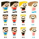 Vektor-Pixel Art Kids Character Design Lizenzfreie Stockfotos