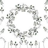 Vektor plaatste: bloemenkader en bloemenelementen voor decoratie van groetkaarten, huwelijksuitnodigingen en andere stock illustratie