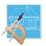 Vektor-Plan mit Winkelmesser Stockfotos