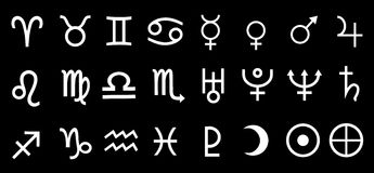 Vektor-Planet astrologisch, astronomische Symbol-Satz-Illustration Stockfotografie
