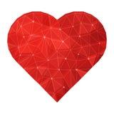 Vektor Poligonal Ruby Heart Arkivbilder