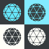 Vektor-Polyeder-flaches Design-Retro- Farbsatz-Illustration Lizenzfreies Stockbild